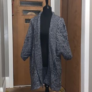 A.n.a. Gray/white open front cable knit cardigan